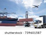container cargo freight ship... | Shutterstock . vector #739601587