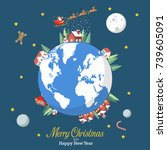 merry christmas and happy new... | Shutterstock .eps vector #739605091