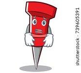 afraid red pin character cartoon | Shutterstock .eps vector #739605391