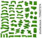 green web ribbon set  vector... | Shutterstock .eps vector #739607374