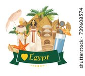 egypt travel vector. banner... | Shutterstock .eps vector #739608574