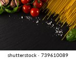 food frame photo. pasta... | Shutterstock . vector #739610089