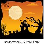 halloween background with...   Shutterstock .eps vector #739611289