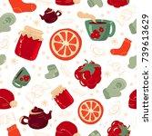 vector winter festive seamless... | Shutterstock .eps vector #739613629