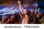 new year party at night club in ... | Shutterstock . vector #739614241