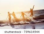 happy friends having fun at...   Shutterstock . vector #739614544
