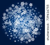snow flakes falling winter... | Shutterstock .eps vector #739616755