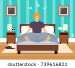 awaking in bad mood young man... | Shutterstock .eps vector #739616821