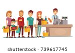customers people queue at cash... | Shutterstock .eps vector #739617745