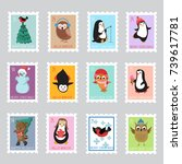 christmas santa postage stamps... | Shutterstock .eps vector #739617781