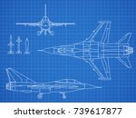military jet aircraft drawing... | Shutterstock .eps vector #739617877