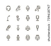microphone icon set. collection ... | Shutterstock .eps vector #739618747