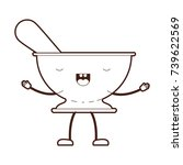 kitchen bowl with spoon cartoon ... | Shutterstock .eps vector #739622569