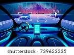 autinomous smart car inerior.... | Shutterstock .eps vector #739623235