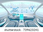 autinomous smart car inerior.... | Shutterstock .eps vector #739623241