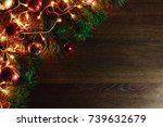 christmas ornaments and pine... | Shutterstock . vector #739632679