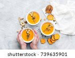 hands holding homemade fresh... | Shutterstock . vector #739635901