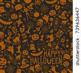 halloween pattern | Shutterstock .eps vector #739636447