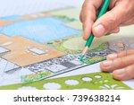 backyard garden and pool design ... | Shutterstock . vector #739638214