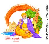 illustration of happy gurpurab  ... | Shutterstock .eps vector #739639009