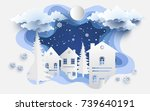 scenery in the winter with... | Shutterstock .eps vector #739640191