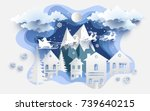 scenery in the winter with... | Shutterstock .eps vector #739640215