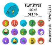 fishing set icons in flat style.... | Shutterstock . vector #739641865
