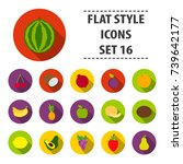 fruits set icons in flat style. ... | Shutterstock . vector #739642177