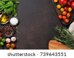 tomatoes  basil and spices on... | Shutterstock . vector #739643551