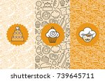 Vector set of design templates and elements for bakery packaging in trendy linear style - seamless patterns with linear icons related to baking, cafe, cupcake shop and logo design templates