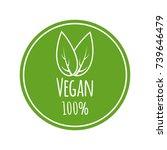 100  vegan vector logo. round... | Shutterstock .eps vector #739646479