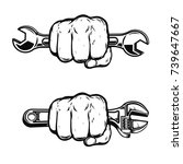 human fist with wrench. design...   Shutterstock .eps vector #739647667