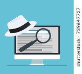 white hat seo banner. magnifier ... | Shutterstock .eps vector #739647727