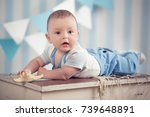 handsome funny happy baby child ... | Shutterstock . vector #739648891
