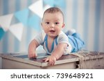 handsome funny happy baby child ... | Shutterstock . vector #739648921