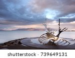 sun voyager monument  clouds ... | Shutterstock . vector #739649131