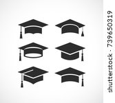 graduation student black cap... | Shutterstock .eps vector #739650319