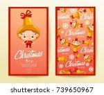 boy and girl wearing christmas...   Shutterstock .eps vector #739650967