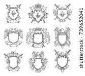 template of heraldic emblems... | Shutterstock .eps vector #739652041