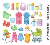 illustrations set of newborn... | Shutterstock .eps vector #739652059