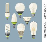 incandescent bulbs  halogen and ... | Shutterstock .eps vector #739652227