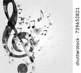 black and white music poster... | Shutterstock .eps vector #739652821