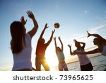 group of young people playing... | Shutterstock . vector #73965625