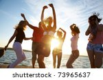 group of happy young people... | Shutterstock . vector #73965637
