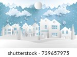 scenery in the winter with... | Shutterstock .eps vector #739657975