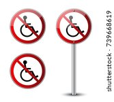 no disabled signs set.... | Shutterstock .eps vector #739668619
