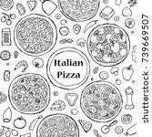hand drawn outline italian... | Shutterstock .eps vector #739669507