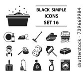 cleaning set icons in black... | Shutterstock . vector #739669984