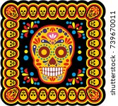 holy death  day of the dead ... | Shutterstock .eps vector #739670011