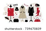 set vintage fashion clothing... | Shutterstock .eps vector #739670839